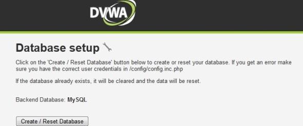 Database Setup DVWA